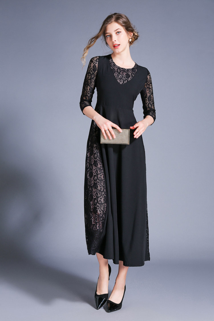 Retro Swing Hollow Out Lace A-Line Black Dress 3