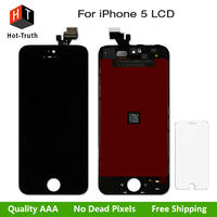 White Black LCD Display For Iphone 5 Touch Screen Digitizer Replacement LCD For Iphone 5G Tempered