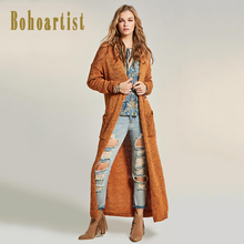 Bohoartist Women Overcoat 2017 Autumn Orange Patchwork Turn down Collar Open Stitch Straight Bohemian New Female