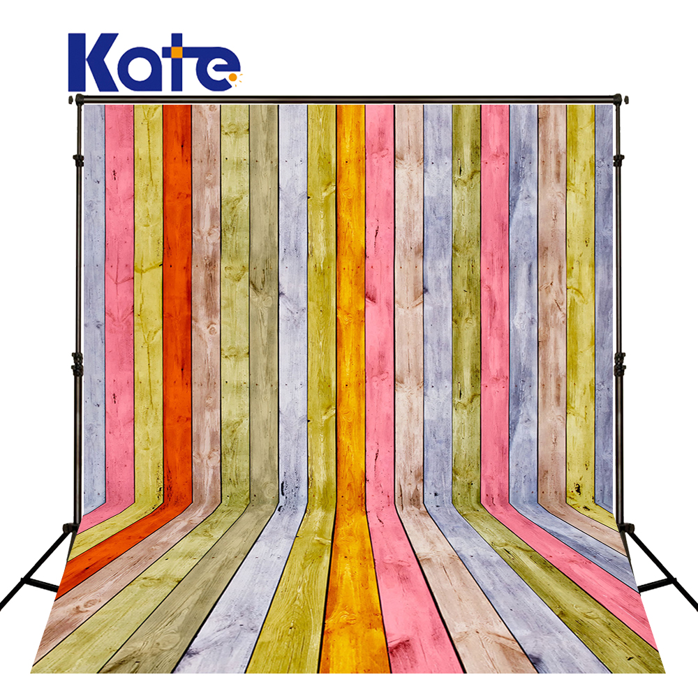 5x7ft Kate Retro Colorful Wood Photography Backdrops Children Photography Background for Studio Photo Wooden Floor Photo Prop