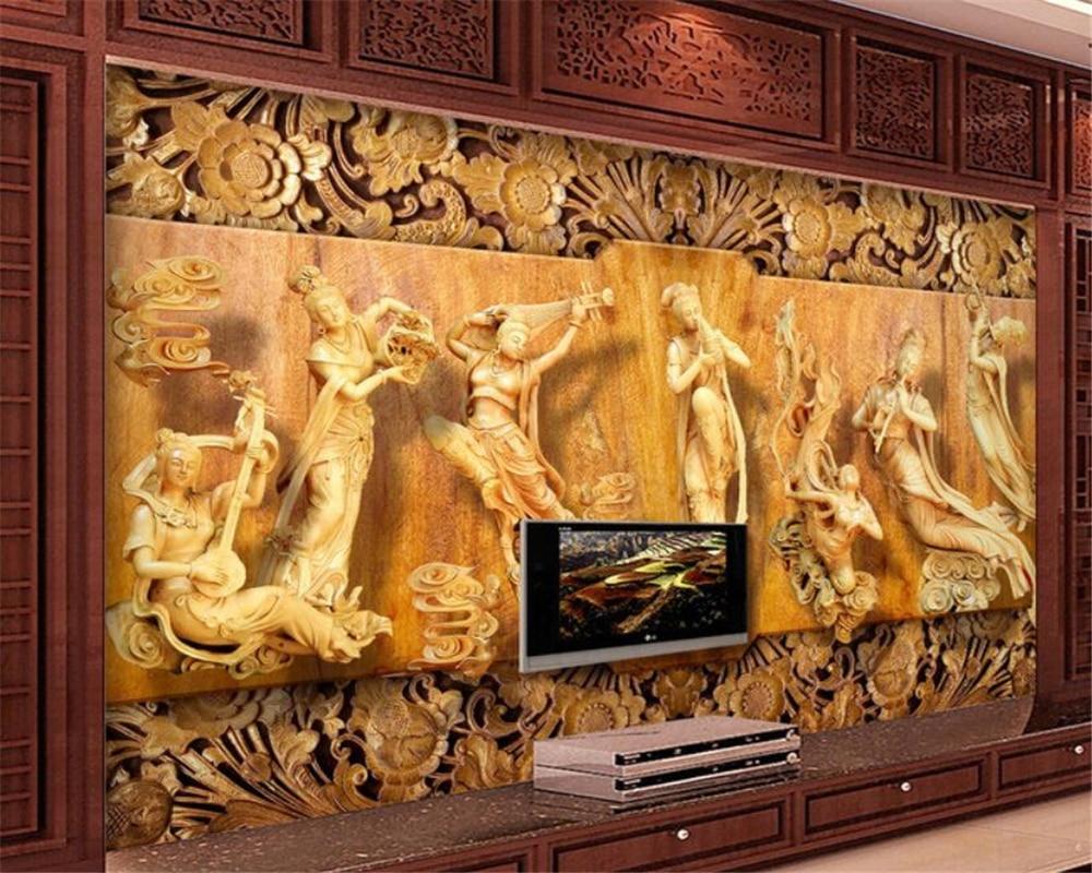 Custom 3D Wallpaper Wood Carving Seven Fairies Female Modern Hotel Design Backdrop Papier Peint Beibehang In Wallpapers From Home Improvement