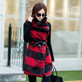 Nice Spring Women Coat Korean Casaco Feminino Version Of The New Long Section Of Trench Coat For Women Plaid Wool Coat H22111