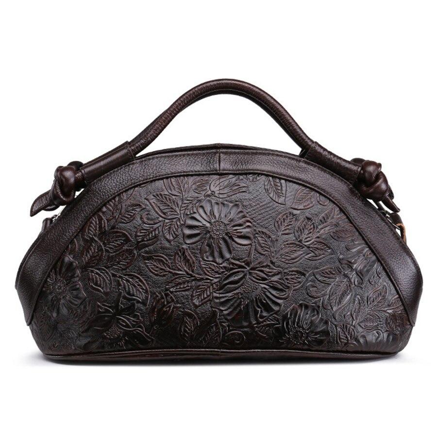 Genuine Leather Cowhide Embossed Leather Handbag Rose