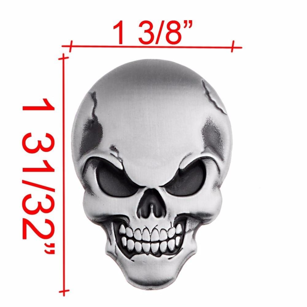 Baru 1 pcs astra depot 3d chrome perak skull tulang emblem decal sticker fairing fender sepeda motor sport sepeda 8z1594 di mobil stiker dari mobil sepeda