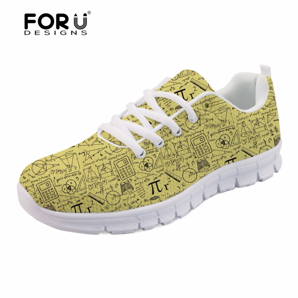 FORUDESIGNS Flats Women Casual Brand Shoes Fashion Math Pattern Breathable Mesh Shoes Woman Women's Sneakers Shoe Zapatos Mujer forudesigns casual women flats shoes woman fashion graffiti design autumn lace up flat shoe for teenage girls zapatos mujer 2017