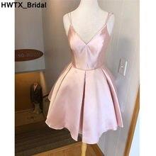 Elegant Pink V-neck Short Bridesmaid Dress 2018 New Sexy Backless Dresses  For Wedding Party Knee Length vestidos dama de honor ebe8e0742c92