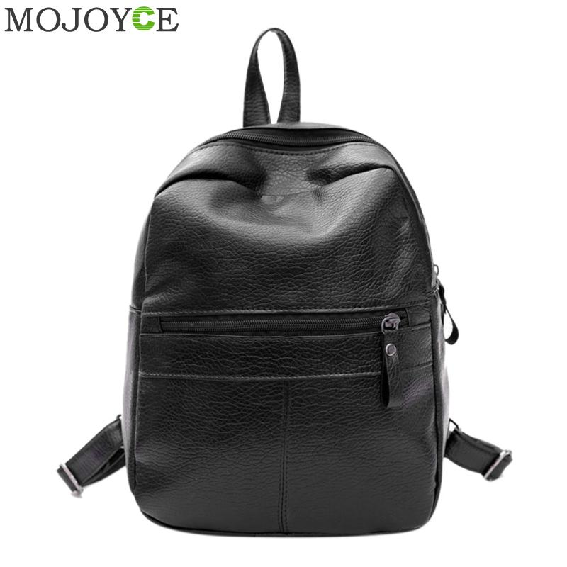 Fashion Women PU Leather Backpack Casual Soft Shoulder Bag Backpack for Teenagers Girls Black Travel Satchel Rucksack Women Bags men pu leather backpack crocodile pattern school backpacks for teenagers double shoulder bag black laptop rucksack travel bags