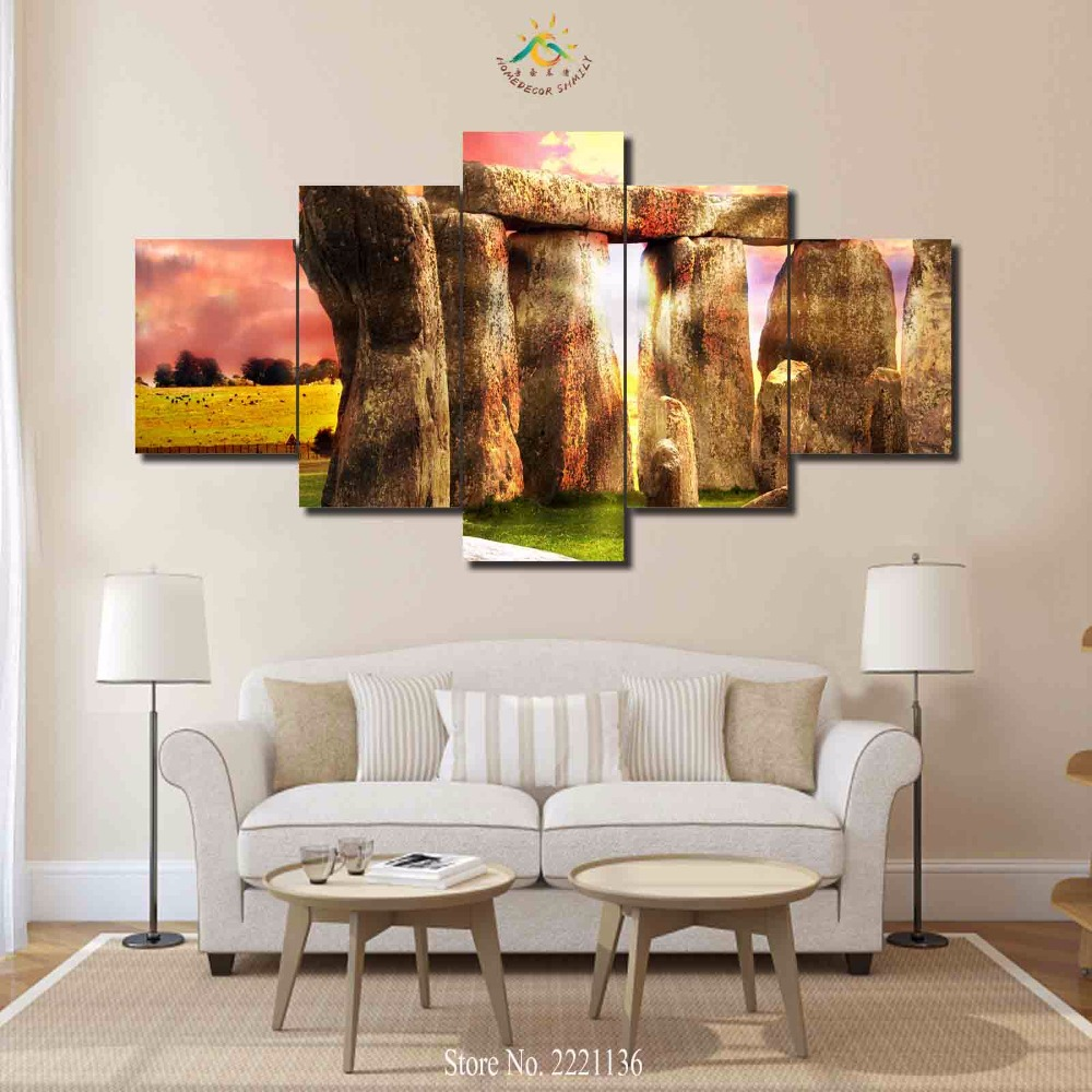 3 4 5 Panels/set Stonehenge Sunset HD Printed Paint Home Decoration Living  Room Or Bedroom Canvas Print Painting Wall Picture