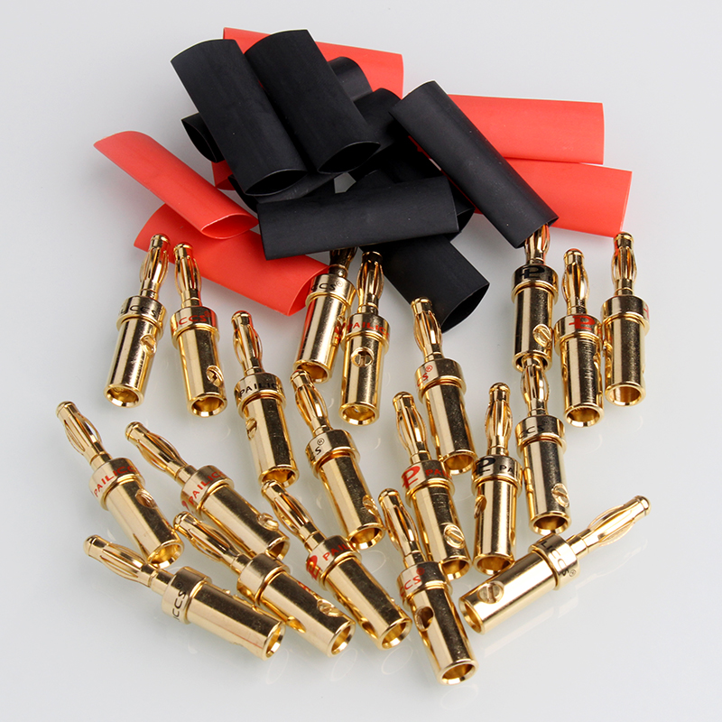 8PCS Gold Speaker Banana Plug Cable Wire Adapters Plugs Copp
