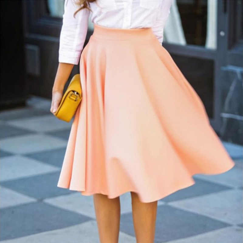 Lato kobiety Midi stałe spódnice na co dzień w stylu Vintage wysoka talia plisowane stałe spódnica kolano długość linii parasol duży huśtawka wisząca spódnice saia