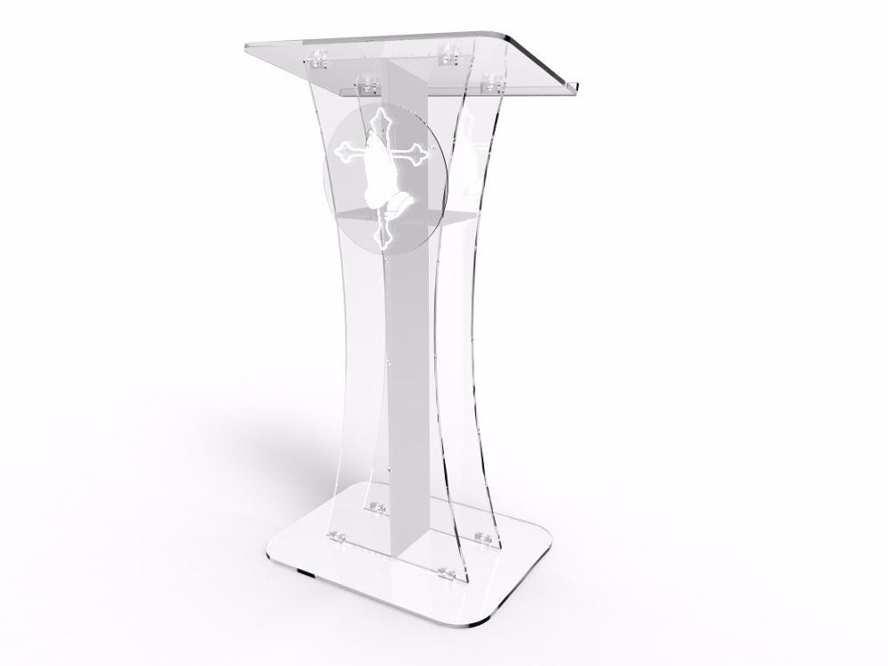 Logo Customize Hot Sale Acrylic Pulpit Of The Church With Beautiful Engraving / Personalized Pulpit Design