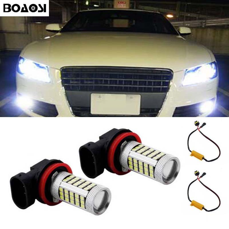 BOAOSI 2x Super White H8 H11 CREE Chip 2835 LED Fog Light Driving Bulbs No Error for Audi A3 A4 A5 S5 A6 Q5 Q7 TT