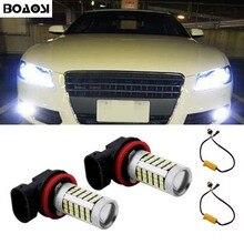 BOAOSI 2x Super White H8 H11 CREE Chip 2835 LED Fog Light Driving Bulbs No Error for Audi A3 A4 A5 S5 A6 Q5 Q7 TT