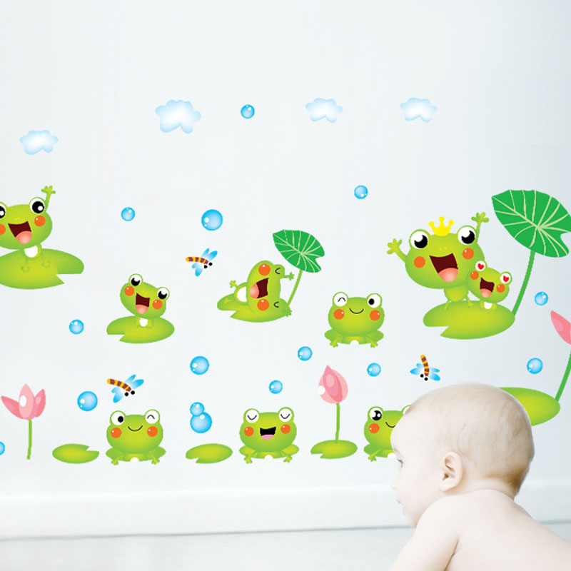 Large Removable Vinyl Stickers Bathroom Decoration Home Cartoon Frog And  Lotus Leaf Nursery Wall Art Sticker