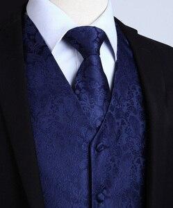 Image 2 - Mens Classic Party Wedding Paisley Plaid Floral Jacquard Waistcoat Vest Pocket Square Tie Suit Set Pocket Square Set