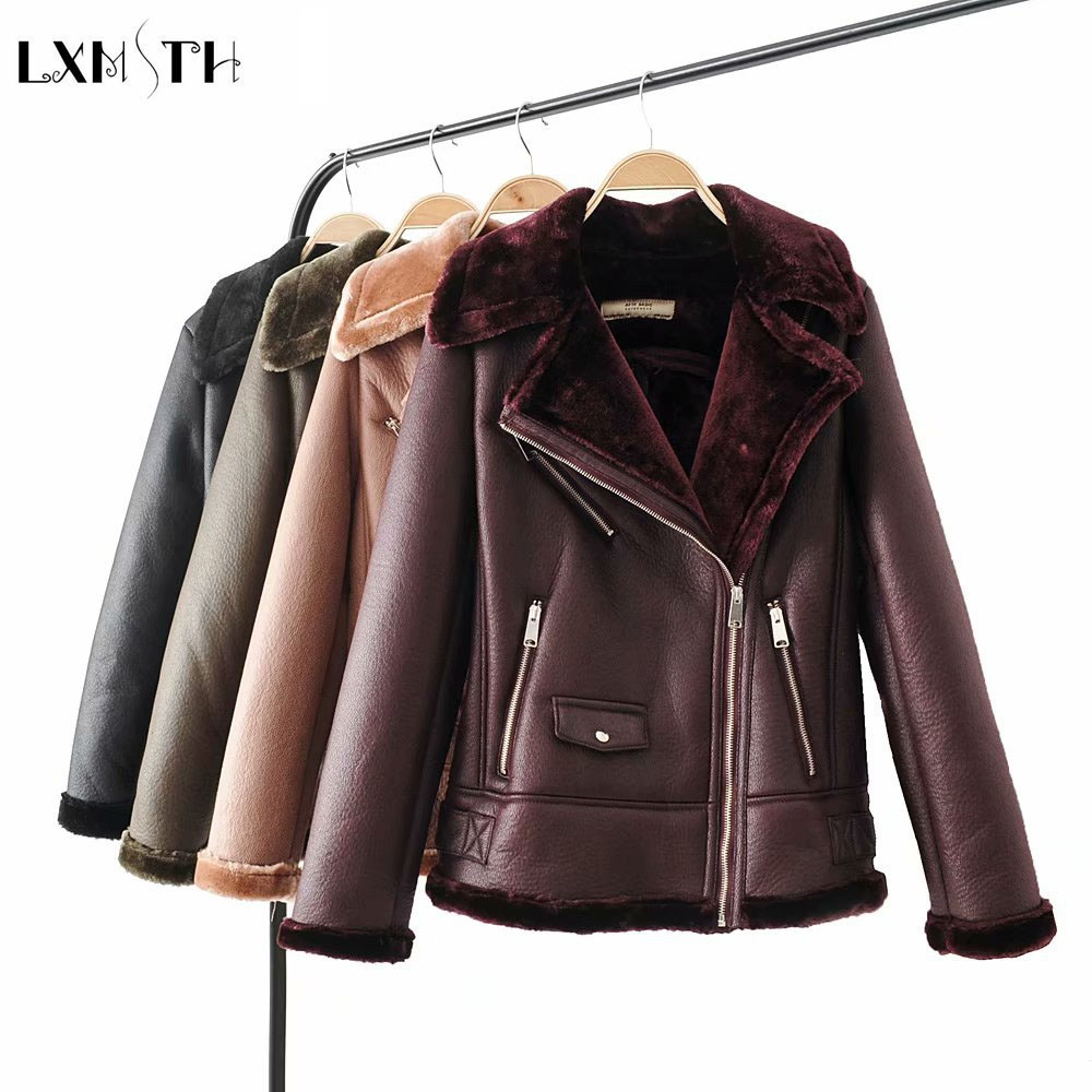 LXUNYI 2019 New Autumn Winter Faux Leather Fur Coat Women Zipper Straight Shearling Leather Jacket Motorcycle Thick Warm Outwear