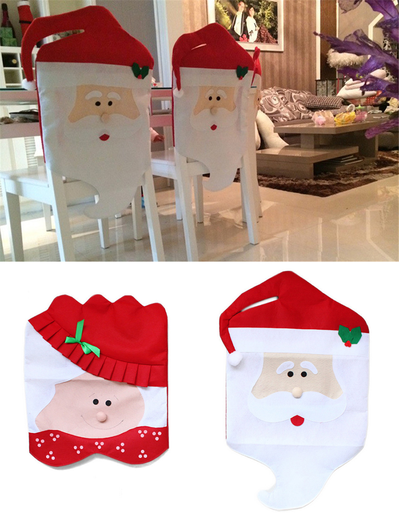 Christmas chair back covers - 2016hot Lovely Mr Mrs Santa Claus Christmas Dining Room Chair Cover Seat Back Cover Coat