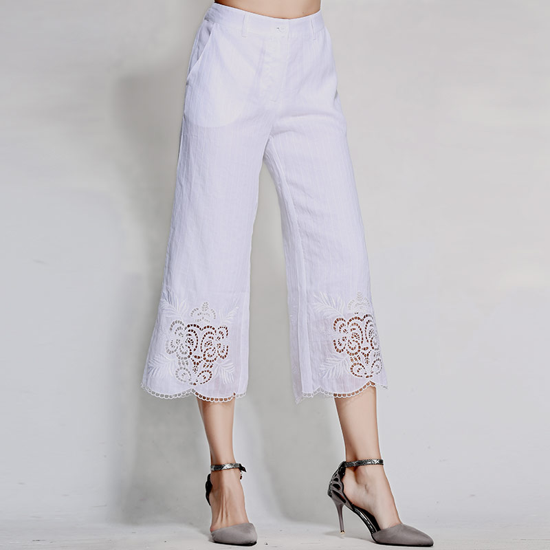 xxl blanc blanc Femmes Style Floral Gamme M Large Femelle Broderie Ramie Noir jambe Chinois Lady Noir Royal Vintage De Pantalon Lâche Haut 81pxnH6x