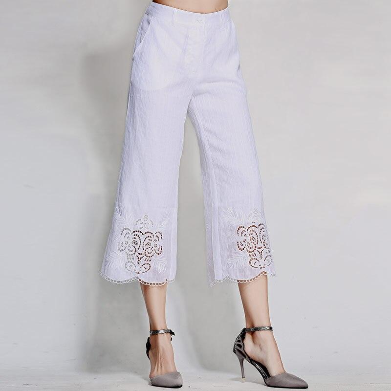 Señora Floral Mujer De Alta M Bordado Suelta Gama Las Negro xxl Ancha Real Mujeres Chino Estilo Pantalones Pierna Ramie blanco Negro blanco xAInq57w