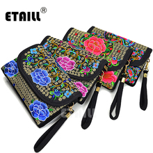ETAILL Ethnic Vintage Embroidered Canvas Cover Shoulder Messenger Bag Hmong Handmade Small Phone Summer Wristlets