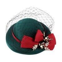 Retro Elegante Señoras de Las Mujeres de Malla Verde Mini Top Hat Fascinator Pinza de Pelo de la Boda Del Perno de Pelo Accesorio Del Pelo Del Partido