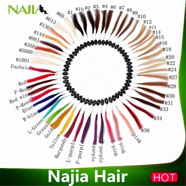 Najia Hair Colour Ring Color Chart With 32 Colors For Human Extensions Match Beauty Salon Use