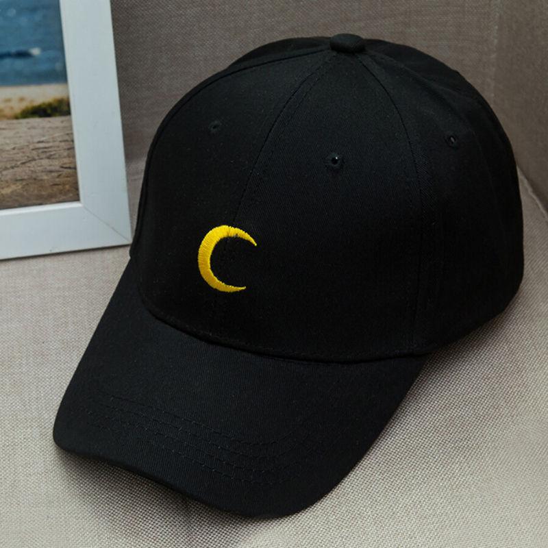 3 Color Fashion Women Hat Conveniently Adjustable Hats Pure Color Caps Baseball Caps Visor Hat Moon Embroidery Cap