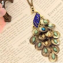 Women Vintage Alloy Rhinestone Peacock Pendant Long Chain Charm Necklace