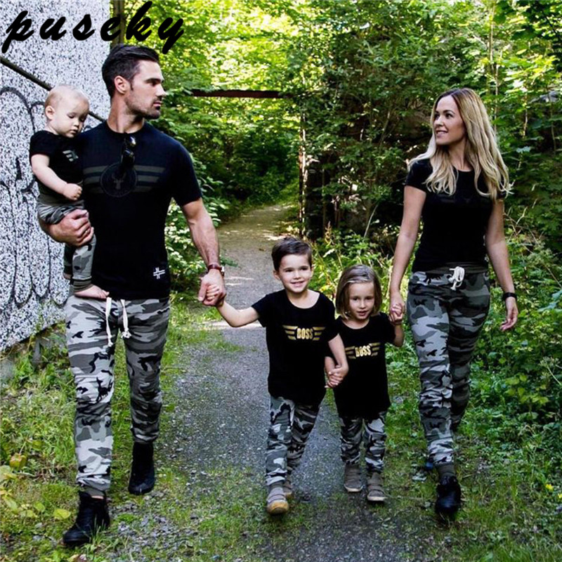 Puseky Cool Summer Family Shirt Sets Camouflage Fashion Short-Sleeve Army Green T-shirt New Family Matching Shirts Plus Size plus size bell sleeve lace insert t shirt