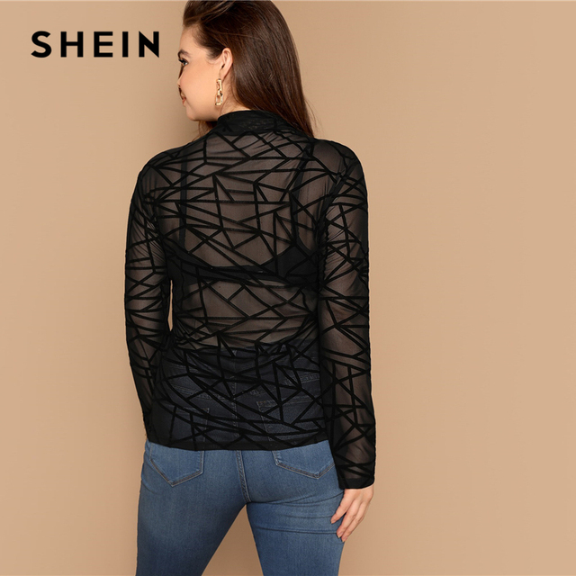 SHEIN Plus Size Sexy Black Mock-neck Geo Mesh Blouse Without Bra Women Sheer Slim Fit Top Spring Long Sleeve Casual Plus Blouses 2