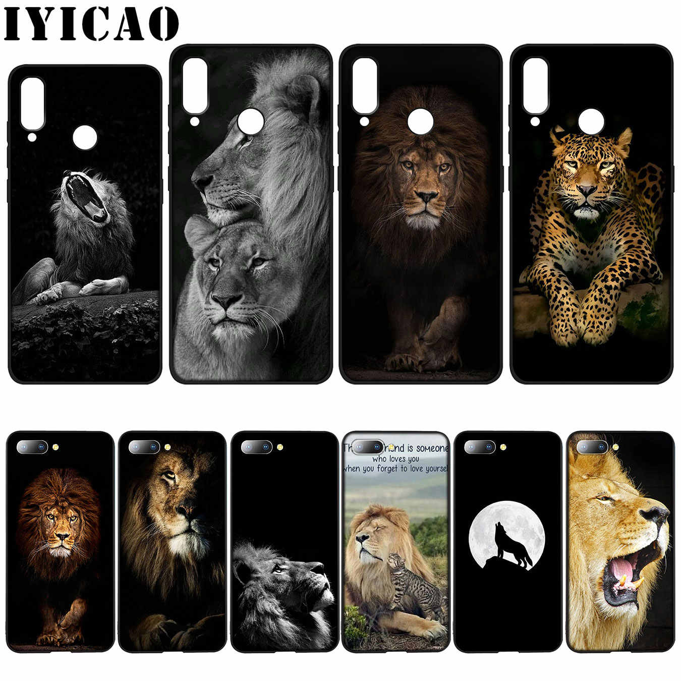 IYICAO Animal king tiger  lion Silicone Soft Case for Huawei Y7 Y6 Prime Y9 2018 Honor 8C 8X 8 9 10 Lite 6A 7C 7X 7A Pro