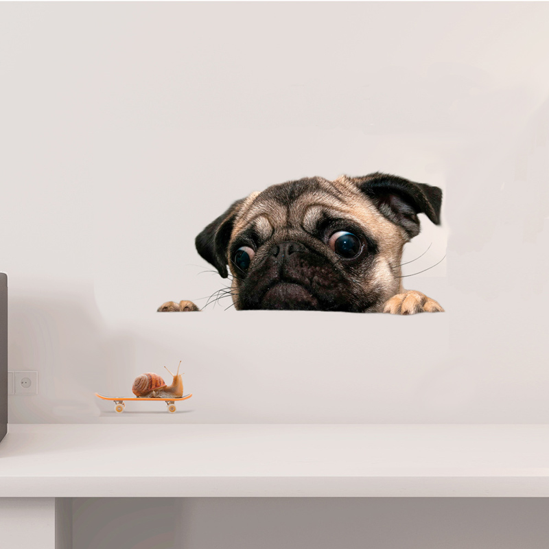 Funny 3D Dog peeking snail Wall sticker bathroom living room decorations Art decals cute animal Toilet stickers for home decor
