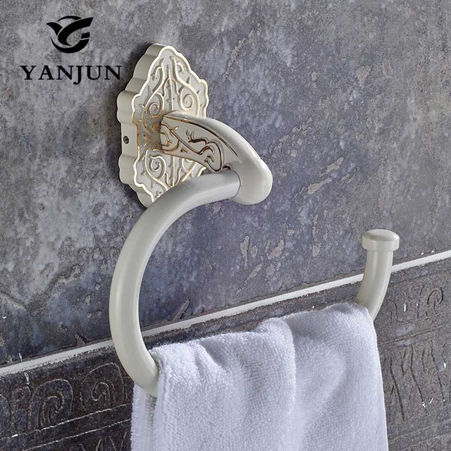 Wall Mounted Towel Ring Round Antique Rack Bathroom Lavatory Holder Zinc Alloy Ivory White