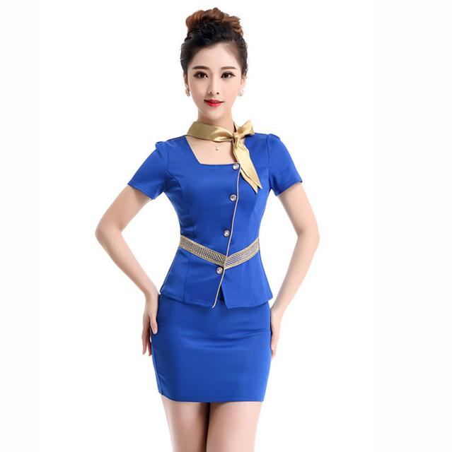 Frete grátis verão mulheres formais trabalhar ternos Office Lady saia sólida uniforme uniformes de companhias aéreas breve desgaste do trabalho Plus Size XXXL