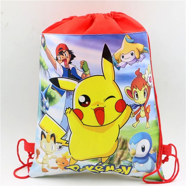 Red Pikachu Party Birthday Bags Kid Favors Backpack Decoratios Pokemon Go Drawstring Gift Kids