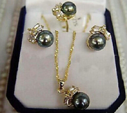Jewelry 001102 CHARMING Black Pearl Earring Ring & Necklace Set (A0423) -Bride Jewelry Free Shipping