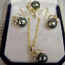 Ювелирные изделия 001102 очаровательные серьги с черным жемчугом кольцо и ожерелье набор(A0423)-ювелирные изделия невесты