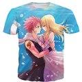 Dos namorados Das Mulheres Dos Homens de manga Curta t Anime Fairy Tail camisas t 3D Personagens Natsu Lucy Impressão Casais Lazer T-shirt