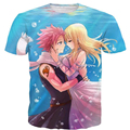 Valentine Short sleeve Men Women Anime t shirts Fairy Tail 3D t shirts Characters Natsu and Lucy Print Couples Leisure T-shirt