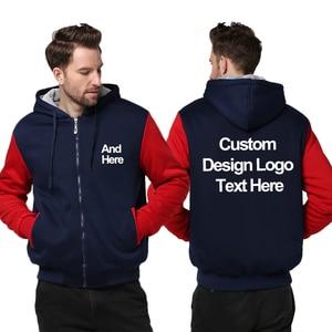 Image 3 - US Size Custom Mens Hoodies DIY Print LOGO Design Hoodie Winter Fleece Thicken Coat Jacket Sweatshirts Drop Shipping