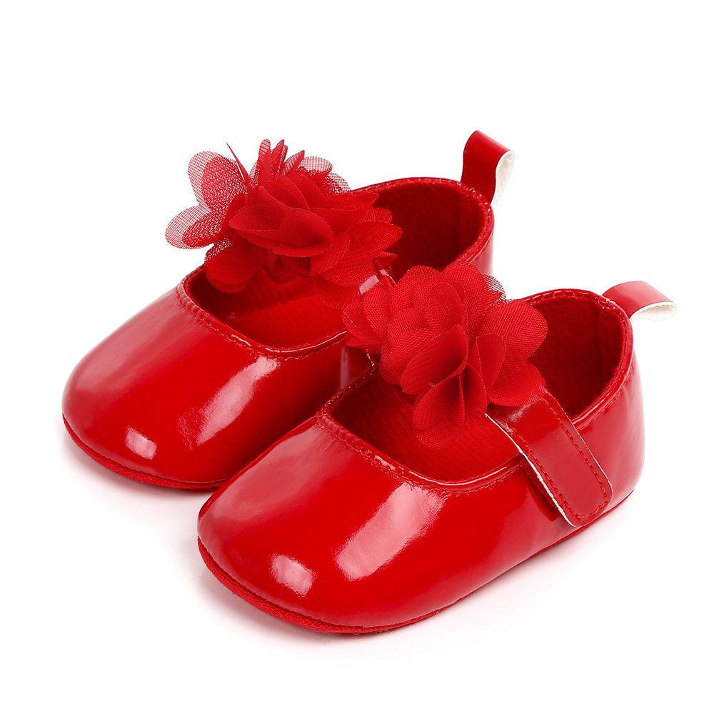 Baby Girl Princess PU Leather Shoes With Flowers Infant Soft Sole First Walkers Spring Summer Bebe Crib Shoes Patent Leather | Happy Baby Mama