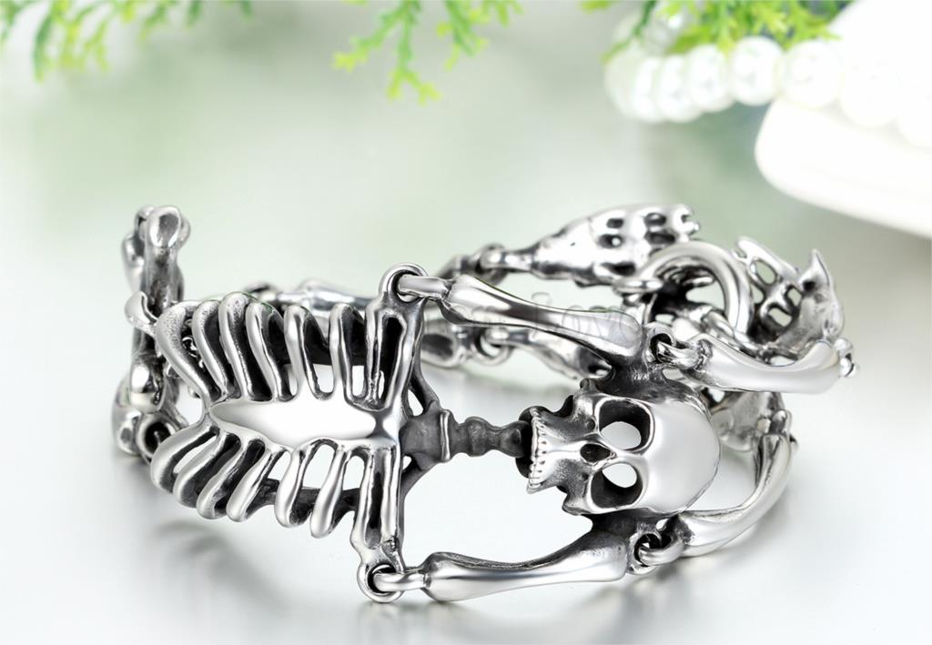 8.6 pouces hommes en acier inoxydable Bracelet lien poignet argent noir crâne squelette Vintage bijoux garçon cadeau pulseira masculina couro - 3