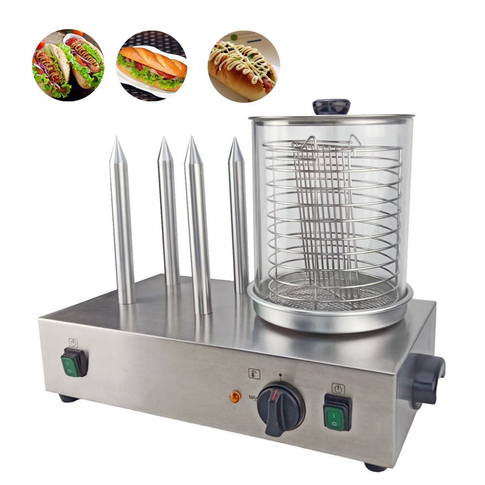 Electrical Stainless Steel Sausage Warmer Making Machine Commercial Hot Dog Warmer Heating Sausage Roller Warmer With 4 Sticks