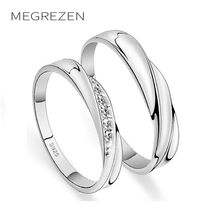 MEGREZEN Couples Engagement Rings Silver Jewelry Wedding Rings Pair Crystal Ring For Men And Women Anillos De Compromiso YR030-5
