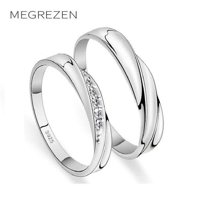 49d4b3f880 MEGREZEN pary obrączki srebrny biżuteria obrączki para kryształ pierścień  dla mężczyzn i kobiet Anillos De Compromiso