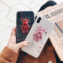 XR Luxury 3d Bear Shiny Hearts Jelly Glitters Phone Case Soft TPU Back Cover For iPhoneXsmax 8plus/6s 7plus Shell Protection