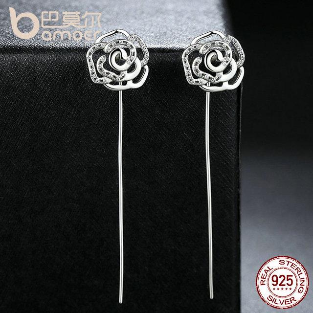 Sterling Silver 5.5 CM Long Rose Flower Drop Earrings