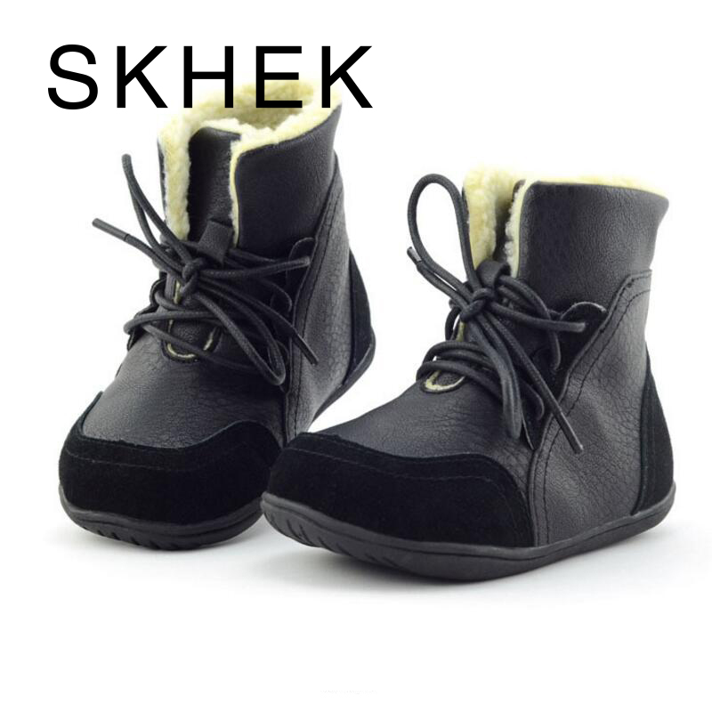 SKHEK Baru Musim Dingin Anak Sepatu Salju Untuk Anak-anak Laki-laki Sepatu Kulit Sepatu Hangat Dengan Putri Bayi Perempuan non-slip Ankle Boots