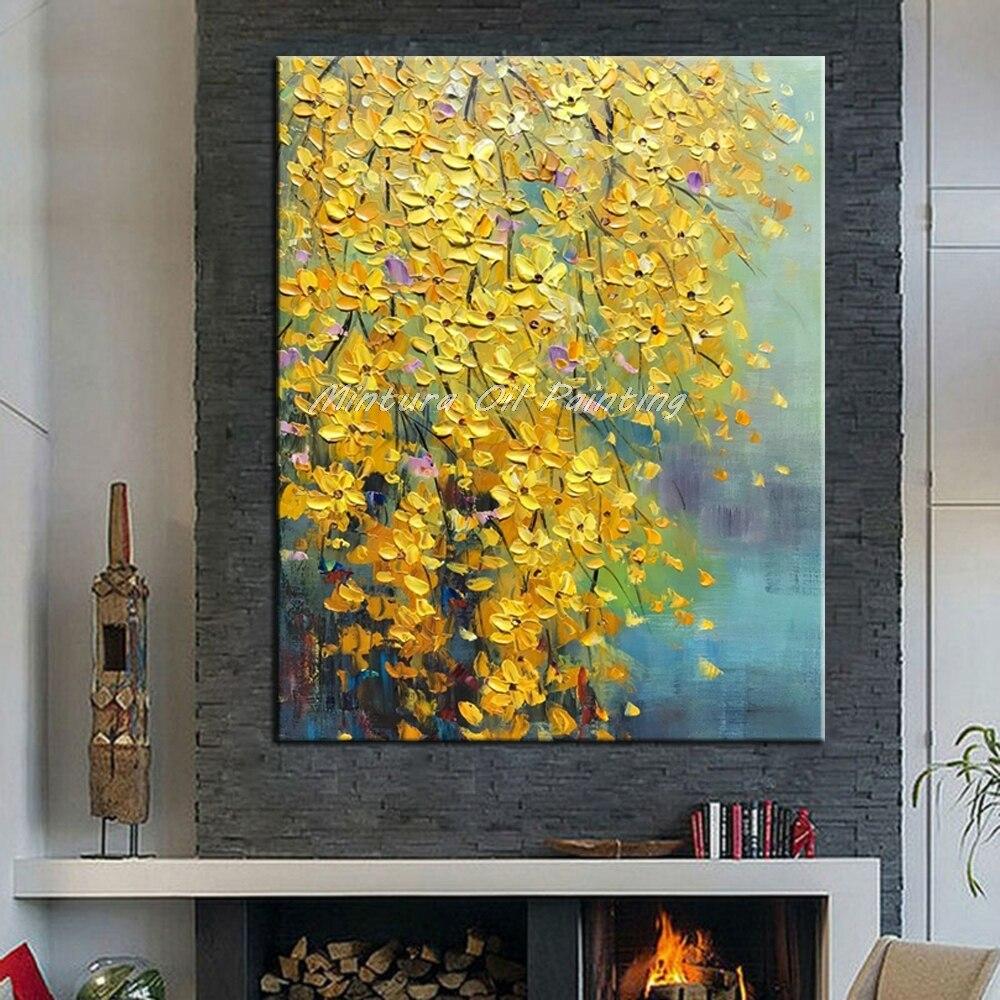 Mintura ручная роспись цветы и дерево Рисование современные картины маслом на холсте настенные картины для гостиной домашний Декор без рамки - Цвет: MT161079