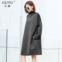 GUTU 2018 Black Gray Long Sleeve Dress New Korean Fashion Autumn Spring Turtleneck Loose Big